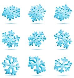 set 3d blue glossy snowflake vector image vector image