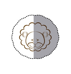 Sticker with brown line contour of face of lion vector