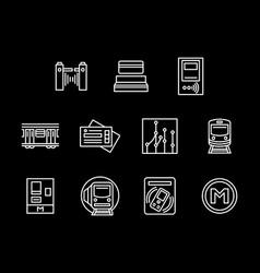 subway station white line icons set vector image
