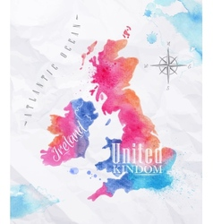Watercolor map United kingdom and Scotland pink vector image