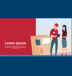 Woman sign document courier man box delivery vector