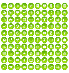 100 e-commerce icons set green vector