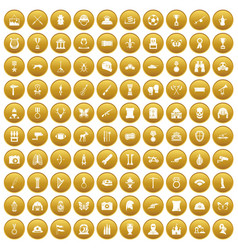 100 museum icons set gold vector