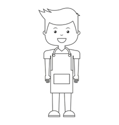 Man with apron isolated icon vector