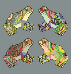 Frog decorative in 4 alternative color vector image