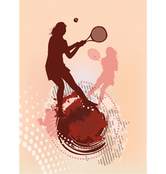 tennis girl silhouette vector image