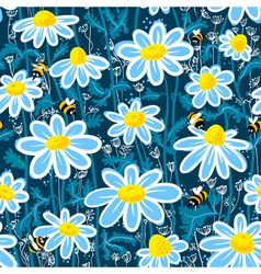 Bees and camomile vector