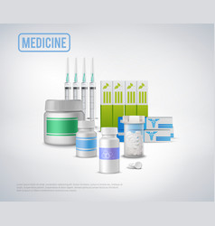 realistic medical supplies background vector image