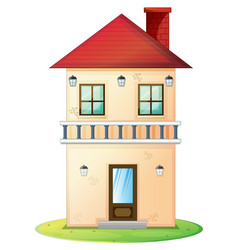 Two stories house with red roof vector