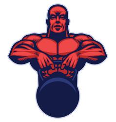 bodybuilder mascot hold the kettlebell vector image