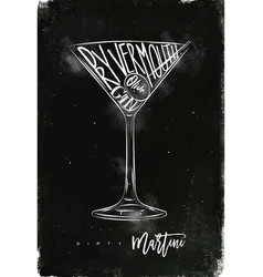 Dirty martini cocktail chalk vector