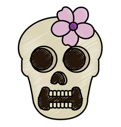 female skull head with flower vector image