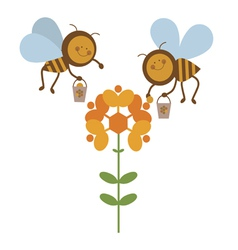 Happy bees workers vector