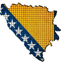 Bosnia and herzegovina map with flag inside vector