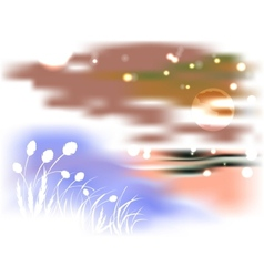 Bright night landscape with lake and reeds in the vector