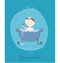 Baby card bath boy vector