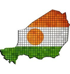 Niger map with flag inside vector