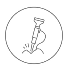Pneumatic hammer drill line icon vector