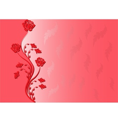 red background with rose vector image