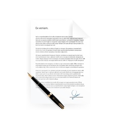 Signed contract paper vector
