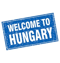 Hungary blue square grunge welcome to stamp vector