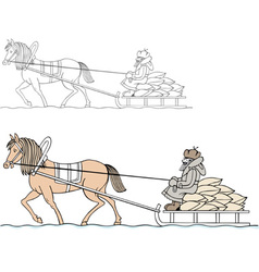 Farmer on the cart vector