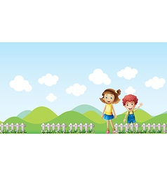 A girl and a boy in a mountain scenery vector image vector image