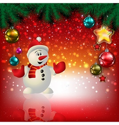 Abstract christmas red greeting with snowman and vector