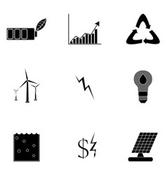 alternative energy icons black silhouette vector image vector image