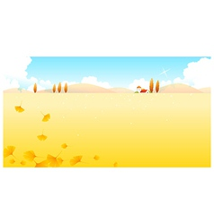 Autumn leaves and landscape vector image