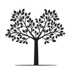 black tree with leafs vector image vector image