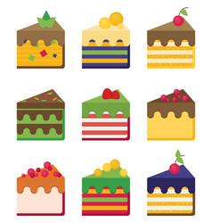 cheesecake flat set vector image vector image