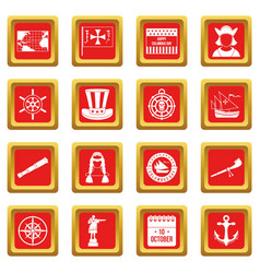 columbus day icons set red vector image vector image