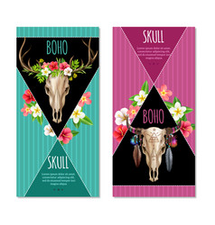 Cow skull banners set vector