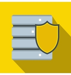 Database with yellow shield icon flat style vector image