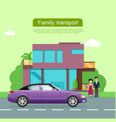 family transport flat web banner vector image vector image