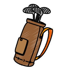Golf clubs bag isolated icon vector