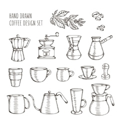 Hand drawn coffee related set vintage vector image vector image