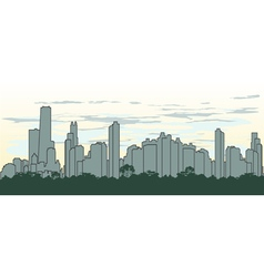 outline silhouette of the city in green color vector image vector image