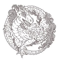 Round dragon coloring page vector