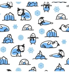 Seamless pattern with cute doodle seal polar bear vector