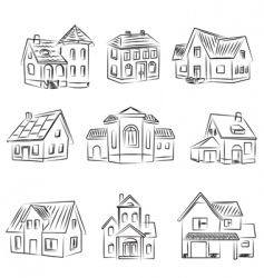 set of houses v vector image