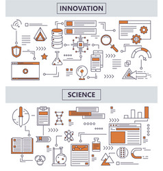 set of modern thin line science innovation vector image