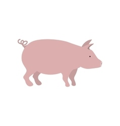 Silhouette color with pink pig vector