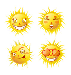 Smiling yellow sun poster of four isolated on vector