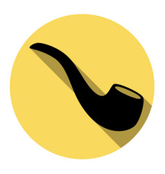smoke pipe sign flat black icon with flat vector image