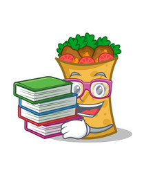 Student with book kebab wrap character cartoon vector