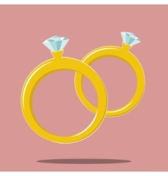 two rings marriage symbol vector image