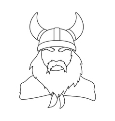 Viking icon in outline style isolated on white vector