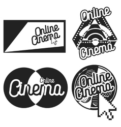 Vintage online cinema emblems vector